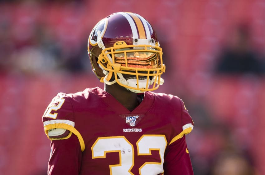 LANDOVER, MD - DECEMBER 15: Jimmy Moreland #32 of the Washington Redskins warms up before the game against the Philadelphia Eagles at FedExField on December 15, 2019 in Landover, Maryland. (Photo by Scott Taetsch/Getty Images)