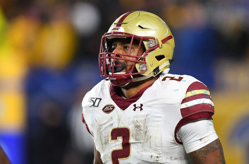 PITTSBURGH, PA - NOVEMBER 30: AJ Dillon #2 of the Boston College Eagles in action during the game against the Pittsburgh Panthers at Heinz Field on November 30, 2019 in Pittsburgh, Pennsylvania. (Photo by Joe Sargent/Getty Images)