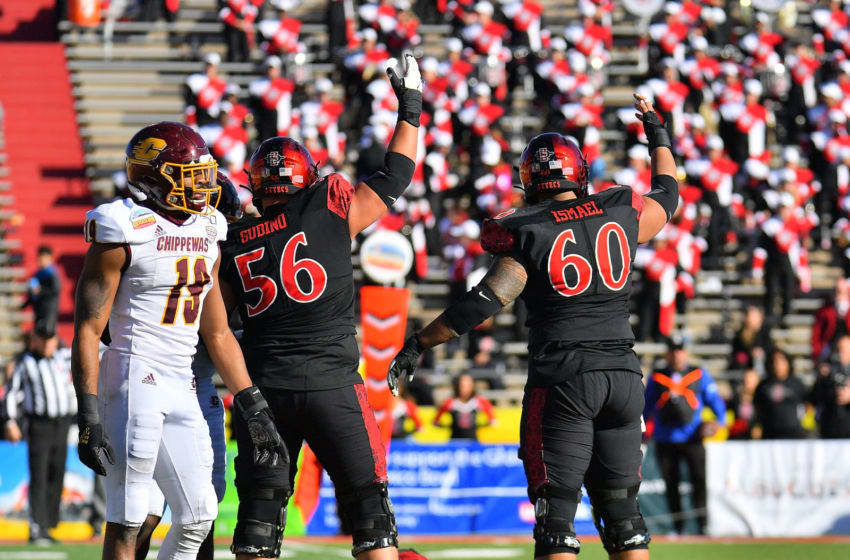 ALBUQUERQUE, NEW MEXICO - DECEMBER 21: Offensive lineman Dominic Gudino #56 and offensive lineman Keith Ismael #60 of the San Diego State Aztecs signal to the sideline for medical trainers after teammate wide receiver Ethan Dedeaux #81 was injured after a helmet-to-helmet hit from defensive back Willie Reid #19 of the Central Michigan Chippewas during the New Mexico Bowl at Dreamstyle Stadium on December 21, 2019 in Albuquerque, New Mexico. Reid was called for targeting on the play and was ejected from the game. The Aztecs defeated the Chippewas 48-11. (Photo by Sam Wasson/Getty Images)