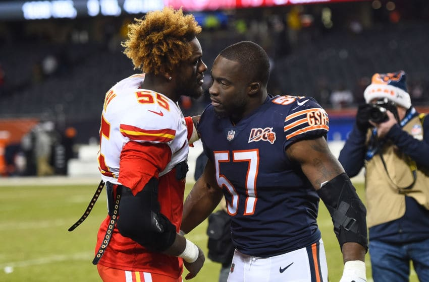 CHICAGO, ILLINOIS - DECEMBER 22: Frank Clark #55 of the Kansas City Chiefs greets Kevin Pierre-Louis #57 of the Chicago Bears after a game at Soldier Field on December 22, 2019 in Chicago, Illinois. (Photo by Stacy Revere/Getty Images)