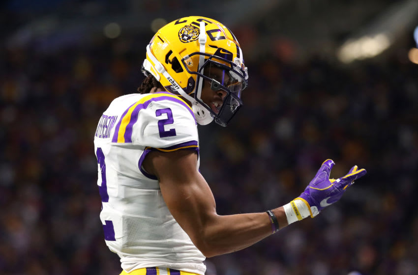 ATLANTA, GEORGIA - DECEMBER 28: Wide receiver Justin Jefferson #2 of the LSU Tigers reacts to a play during the game against the Oklahoma Sooners in the Chick-fil-A Peach Bowl at Mercedes-Benz Stadium on December 28, 2019 in Atlanta, Georgia. (Photo by Gregory Shamus/Getty Images)