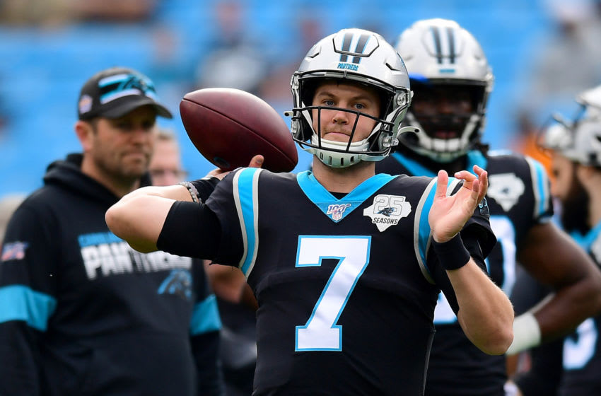 CHARLOTTE, NORTH CAROLINA - DECEMBER 29: Kyle Allen #7 of the Carolina Panthers throws the ball during warm ups before their game against the New Orleans Saints at Bank of America Stadium on December 29, 2019 in Charlotte, North Carolina. (Photo by Jacob Kupferman/Getty Images)