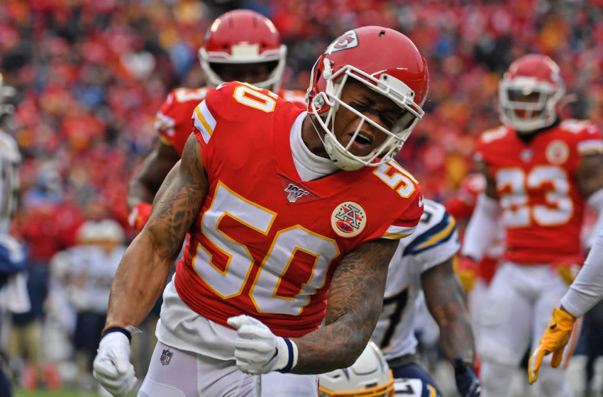 KANSAS CITY, MO - DECEMBER 29: Inside linebacker Darron Lee #50 of the Kansas City Chiefs reacts after making a tackle against the Los Angeles Chargers during the first half at Arrowhead Stadium on December 29, 2019 in Kansas City, Missouri. (Photo by Peter G. Aiken/Getty Images)