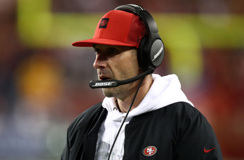 SANTA CLARA, CALIFORNIA - JANUARY 19: Head coach Kyle Shanahan of the San Francisco 49ers looks on from the sidelines during the NFC Championship game against the Green Bay Packers at Levi's Stadium on January 19, 2020 in Santa Clara, California. (Photo by Ezra Shaw/Getty Images)