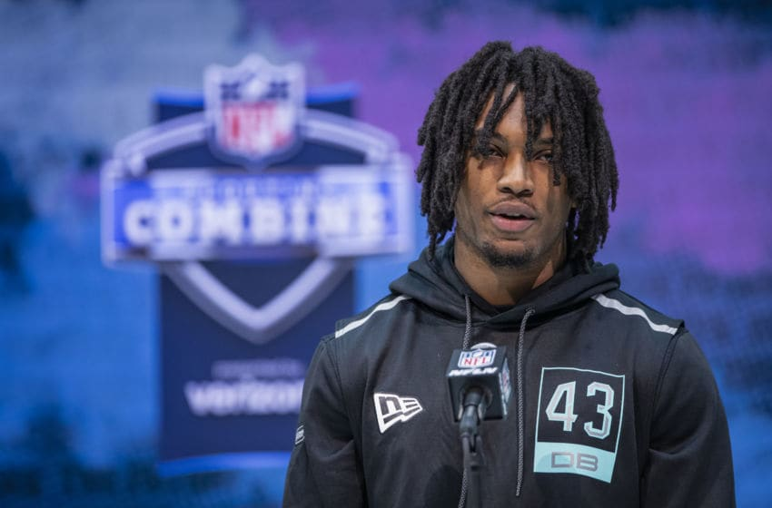INDIANAPOLIS, IN - FEBRUARY 28: Kamren Curl #DB43 of the Arkansas Razorbacks speaks to the media on day four of the NFL Combine at Lucas Oil Stadium on February 28, 2020 in Indianapolis, Indiana. (Photo by Michael Hickey/Getty Images)