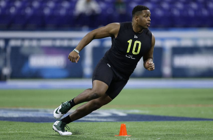 INDIANAPOLIS, IN - FEBRUARY 28: Offensive lineman Cameron Clark of Charlotte runs a drill during the NFL Combine at Lucas Oil Stadium on February 28, 2020 in Indianapolis, Indiana. (Photo by Joe Robbins/Getty Images)