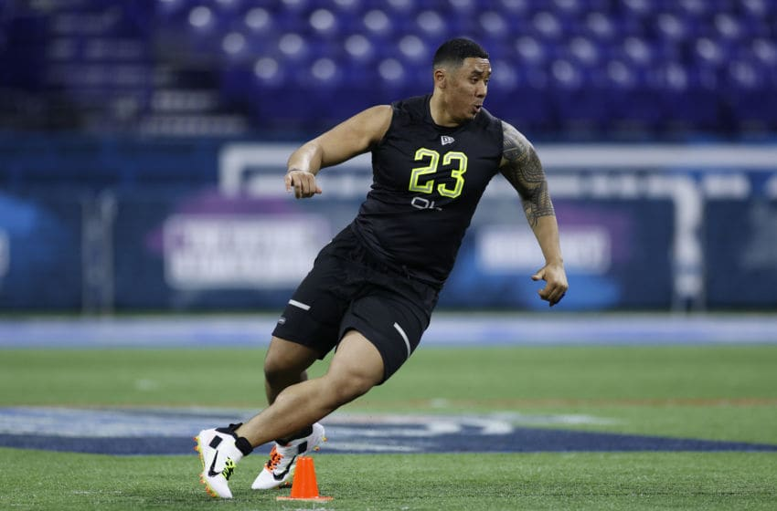 INDIANAPOLIS, IN - FEBRUARY 28: Offensive lineman Keith Ismael of San Diego State runs a drill during the NFL Combine at Lucas Oil Stadium on February 28, 2020 in Indianapolis, Indiana. (Photo by Joe Robbins/Getty Images)