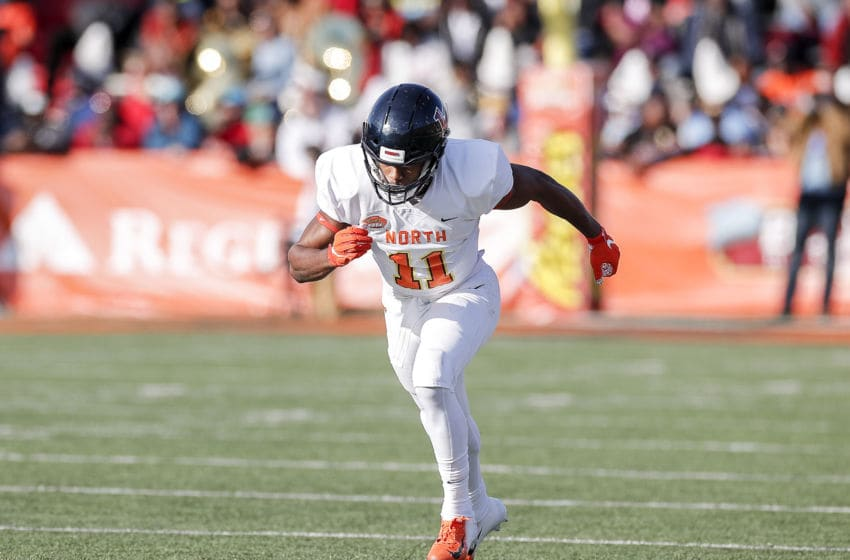 MOBILE, AL - JANUARY 25: Wide Receiver Antonio Gandy-Golden #11 from Liberty of the North Team during the 2020 Resse's Senior Bowl at Ladd-Peebles Stadium on January 25, 2020 in Mobile, Alabama. The North Team defeated the South Team 34 to 17. (Photo by Don Juan Moore/Getty Images)