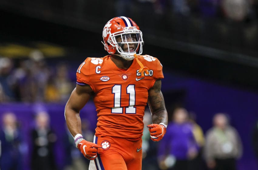 NEW ORLEANS, LA - JANUARY 13: Linebacker Isaiah Simmons #11 of the Clemson Tigers during the College Football Playoff National Championship game against the LSU Tigers at the Mercedes-Benz Superdome on January 13, 2020 in New Orleans, Louisiana. LSU defeated Clemson 42 to 25. (Photo by Don Juan Moore/Getty Images)