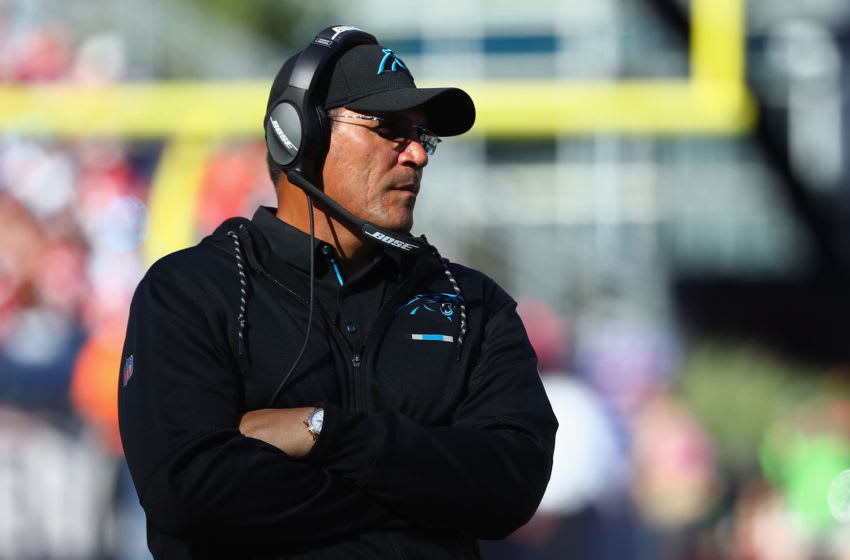 FOXBORO, MA - OCTOBER 01: Head coach Ron Rivera of the Carolina Panthers looks on during the game against the New England Patriots at Gillette Stadium on October 1, 2017 in Foxboro, Massachusetts. (Photo by Maddie Meyer/Getty Images)