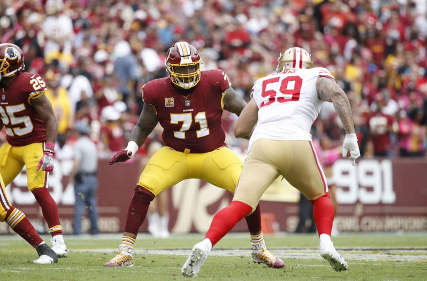 LANDOVER, MD - OCTOBER 15: Trent Williams #71 of the Washington Redskins blocks during a game against the San Francisco 49ers at FedEx Field on October 15, 2017 in Landover, Maryland. The Redskins won 26-24. (Photo by Joe Robbins/Getty Images)