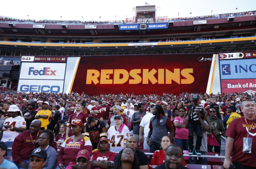 LANDOVER, MD - OCTOBER 15: General view of the scoreboard displaying the Washington Redskins logo and name during a game against the San Francisco 49ers at FedEx Field on October 15, 2017 in Landover, Maryland. The Redskins won 26-24. (Photo by Joe Robbins/Getty Images) *** Local Caption ***