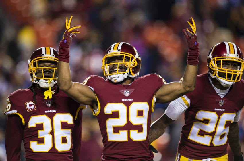LANDOVER, MD - NOVEMBER 23: Cornerback Kendall Fuller #29 of the Washington Football Team celebrates wtih free safety D.J. Swearinger #36 and cornerback Bashaud Breeland #26 after intercepting a pass thrown by quarterback Eli Manning #10 of the New York Giants (not pictured) in the fourth quarter at FedExField on November 23, 2017 in Landover, Maryland. (Photo by Patrick McDermott/Getty Images)