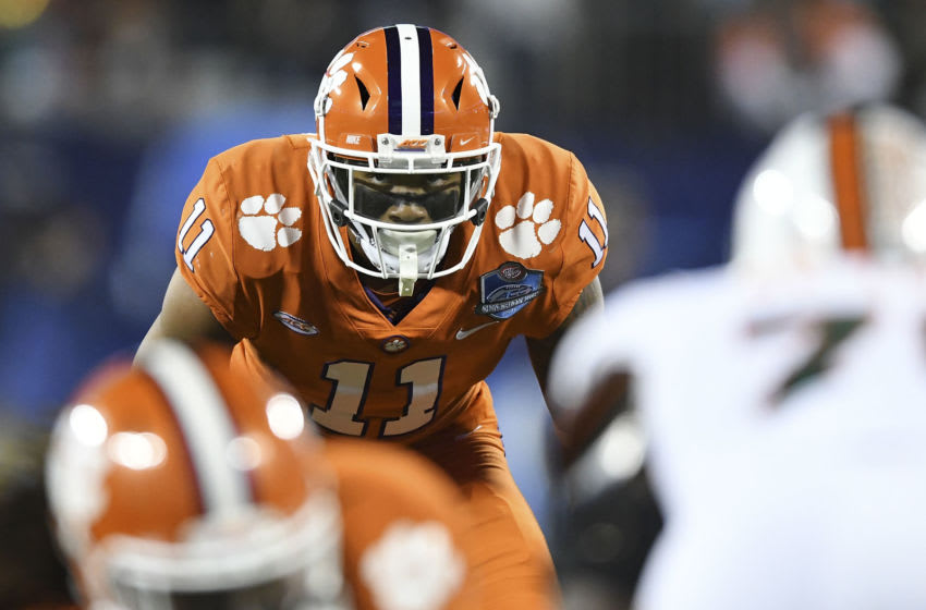 CHARLOTTE, NC - DECEMBER 02: Isaiah Simmons #11 of the Clemson Tigers lines up against the Miami Hurricanes during the ACC Football Championship at Bank of America Stadium on December 2, 2017 in Charlotte, North Carolina. (Photo by Mike Comer/Getty Images)