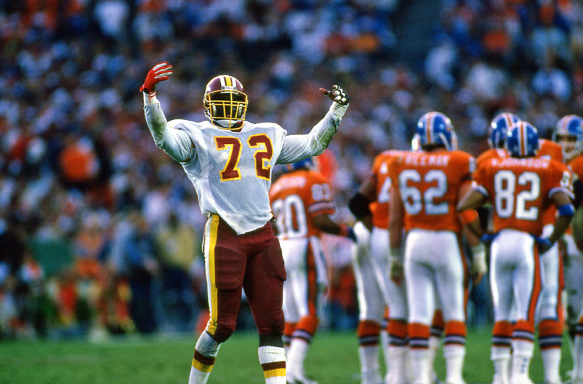 SAN DIEGO,CA-CIRCA 1988:Dexter Manley of the Washington Redskins celebrates at Super Bowl 22 against the Denver Broncos played at Jack Murphy Stadium circa 1988 on January 31st 1988. (Photo by Owen C. Shaw/Getty Images) (Photo by Owen C. Shaw/Getty Images)