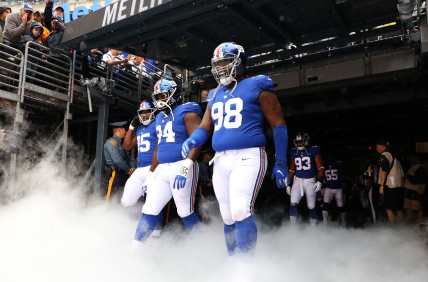 EAST RUTHERFORD, NJ - SEPTEMBER 09: The New York Giants take the field before their game against the Jacksonville Jaguars at MetLife Stadium on September 9, 2018 in East Rutherford, New Jersey. (Photo by Mike Lawrie/Getty Images)