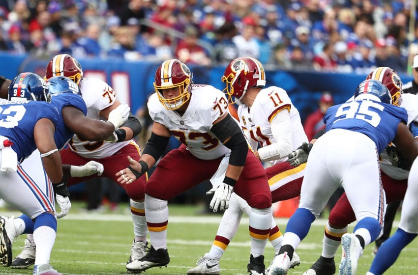 EAST RUTHERFORD, NJ - OCTOBER 28: Chase Roullier #73 of the Washington Redskins in action against the New York Giants during their game at MetLife Stadium on October 28, 2018 in East Rutherford, New Jersey. (Photo by Al Bello/Getty Images)