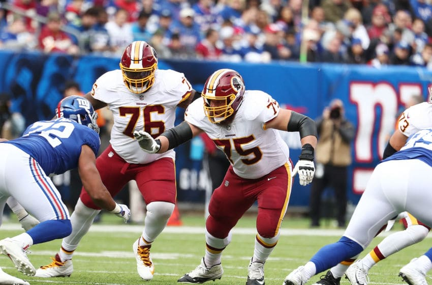 EAST RUTHERFORD, NJ - OCTOBER 28: Brandon Scherff #75 of the Washington Redskins in action against the New york Giants during their game at MetLife Stadium on October 28, 2018 in East Rutherford, New Jersey. (Photo by Al Bello/Getty Images)