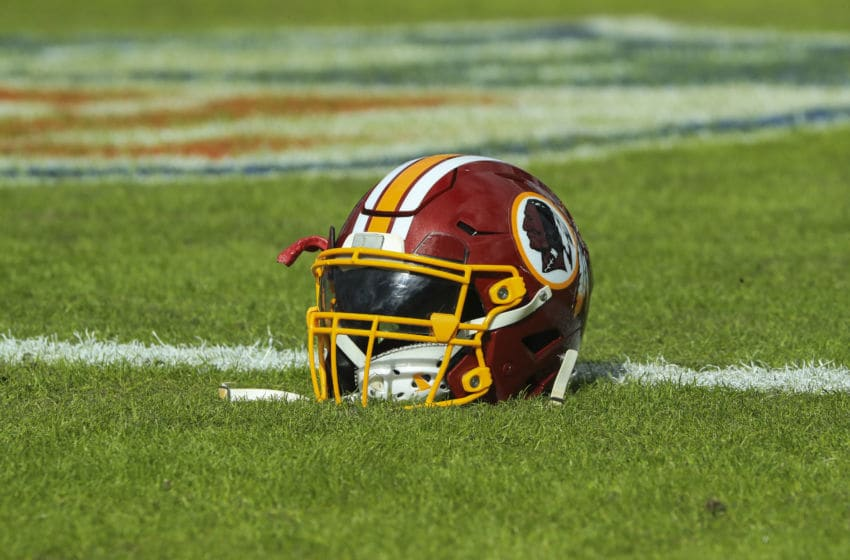 JACKSONVILLE, FL - DECEMBER 16: A Washington Redskins helmet is seen before the game against the Jacksonville Jaguars at TIAA Bank Field on December 16, 2018 in Jacksonville, Florida. (Photo by Sam Greenwood/Getty Images)