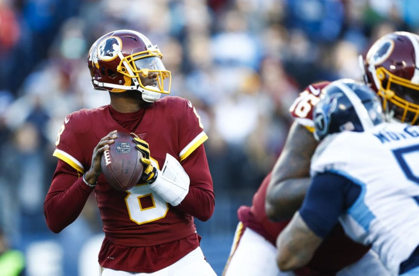 NASHVILLE, TN - DECEMBER 22: Josh Johnson #8 of the Washington Redskins looks to pass against the Tennessee Titans during the first quarter at Nissan Stadium on December 22, 2018 in Nashville, Tennessee. (Photo by Wesley Hitt/Getty Images)