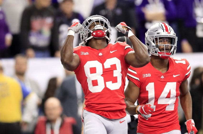 INDIANAPOLIS, INDIANA - DECEMBER 01: Terry McLaurin #83 of the Ohio State Buckeyes celebrates after a touchdown against the Northwestern Wildcats in the first quarter at Lucas Oil Stadium on December 01, 2018 in Indianapolis, Indiana. (Photo by Andy Lyons/Getty Images)