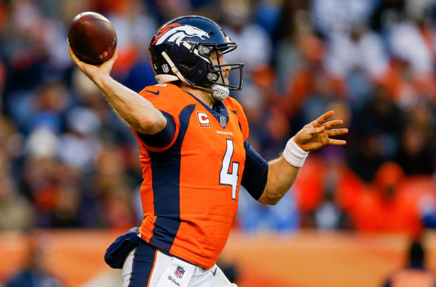 DENVER, CO - DECEMBER 30: Quarterback Case Keenum #4 of the Denver Broncos passes against the Los Angeles Chargers in the second half of a game at Broncos Stadium at Mile High on December 30, 2018 in Denver, Colorado. (Photo by Justin Edmonds/Getty Images)