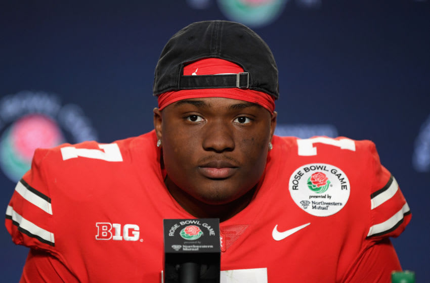 PASADENA, CA - JANUARY 01: Dwayne Haskins #7 of the Ohio State Buckeyes speaks to the media after winning the Rose Bowl Game presented by Northwestern Mutual at the Rose Bowl on January 1, 2019 in Pasadena, California. (Photo by Harry How/Getty Images)