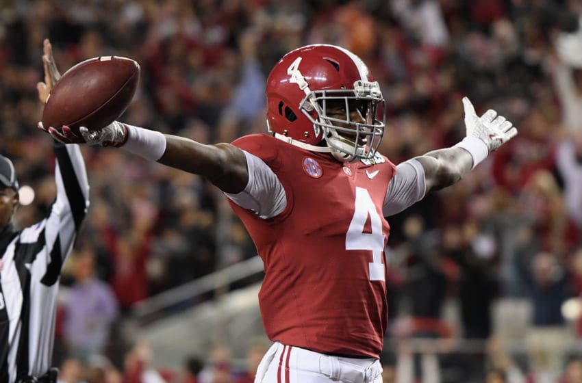 SANTA CLARA, CA - JANUARY 07: Jerry Jeudy #4 of the Alabama Crimson Tide celebrates his first quarter touchdown reception against the Clemson Tigers the CFP National Championship presented by AT&T at Levi's Stadium on January 7, 2019 in Santa Clara, California. (Photo by Harry How/Getty Images)