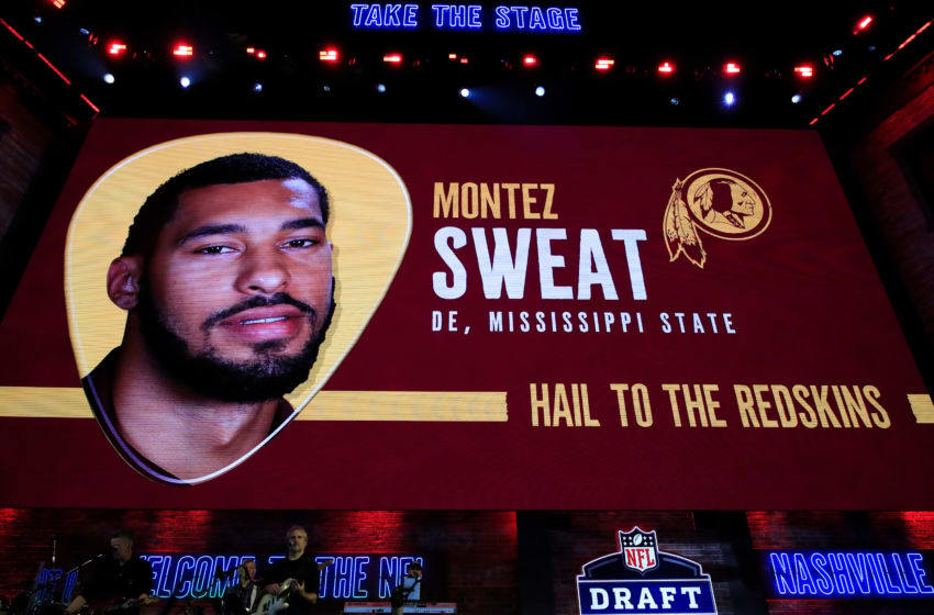 NASHVILLE, TENNESSEE - APRIL 25: A video board displays an image of Montez Sweat of Mississippi State after he was chosen #26 overall by the Washington Redskins during the first round of the 2019 NFL Draft on April 25, 2019 in Nashville, Tennessee. (Photo by Andy Lyons/Getty Images)