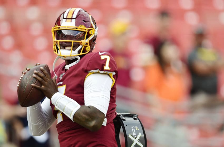 LANDOVER, MD - AUGUST 15: Dwayne Haskins #7 of the Washington Redskins throws a pass before a preseason game against the Cincinnati Bengals at FedExField on August 15, 2019 in Landover, Maryland. (Photo by Patrick McDermott/Getty Images)