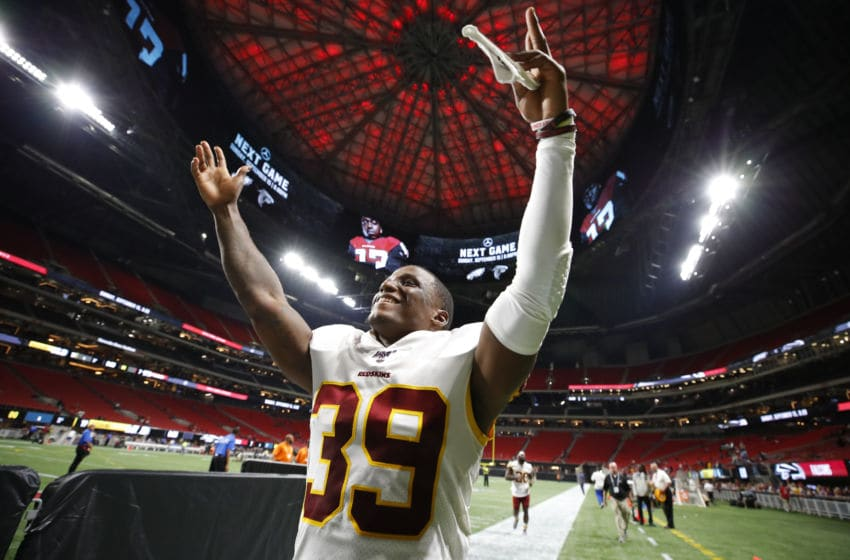 ATLANTA, GA - AUGUST 22: Defensive back Jeremy Reaves #39 of the Washington Redskins reacts at the conclusion of an NFL preseason game against the Atlanta Falcons at Mercedes-Benz Stadium on August 22, 2019 in Atlanta, Georgia. (Photo by Todd Kirkland/Getty Images)