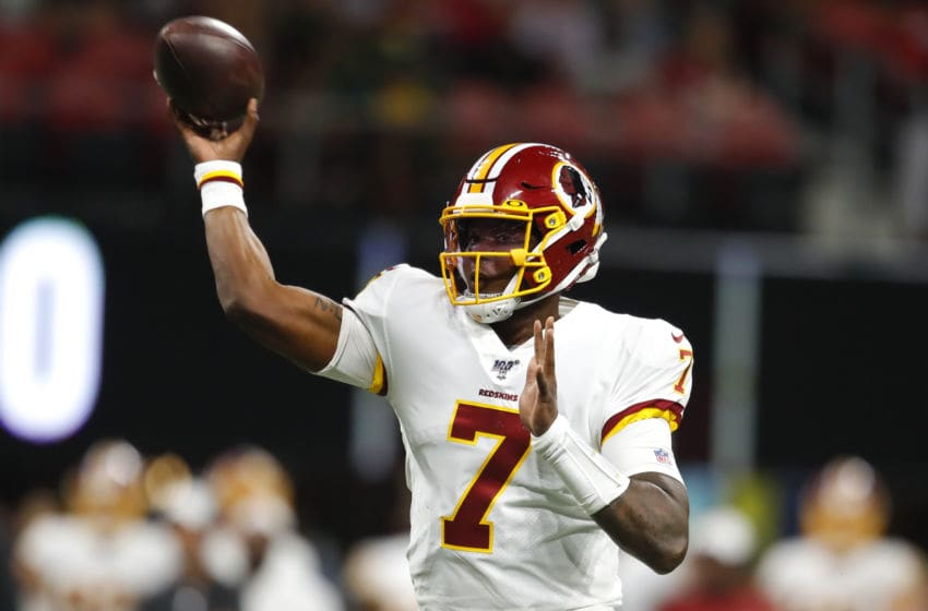 ATLANTA, GA - AUGUST 22: Quarterback Dwayne Haskins #7 of the Washington Redskins passes in the second half of an NFL preseason game against the Atlanta Falcons at Mercedes-Benz Stadium on August 22, 2019 in Atlanta, Georgia. (Photo by Todd Kirkland/Getty Images)