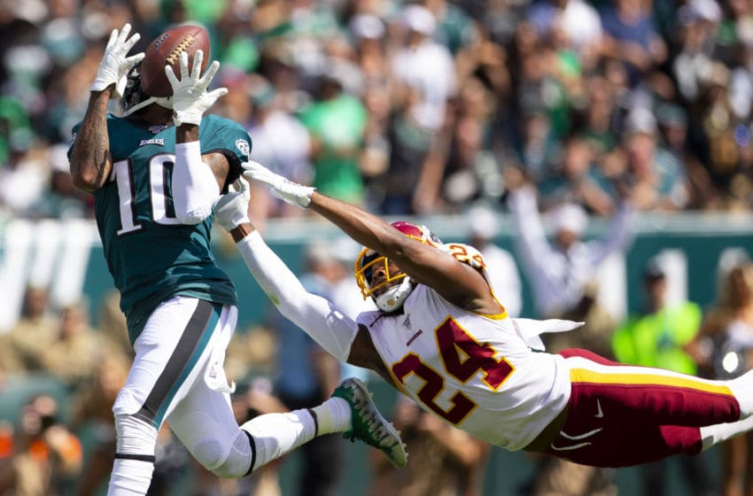 PHILADELPHIA, PA - SEPTEMBER 08: DeSean Jackson #10 of the Philadelphia Eagles catches a touchdown against Josh Norman #24 of the Washington Redskins in the second quarter at Lincoln Financial Field on September 8, 2019 in Philadelphia, Pennsylvania. (Photo by Mitchell Leff/Getty Images)