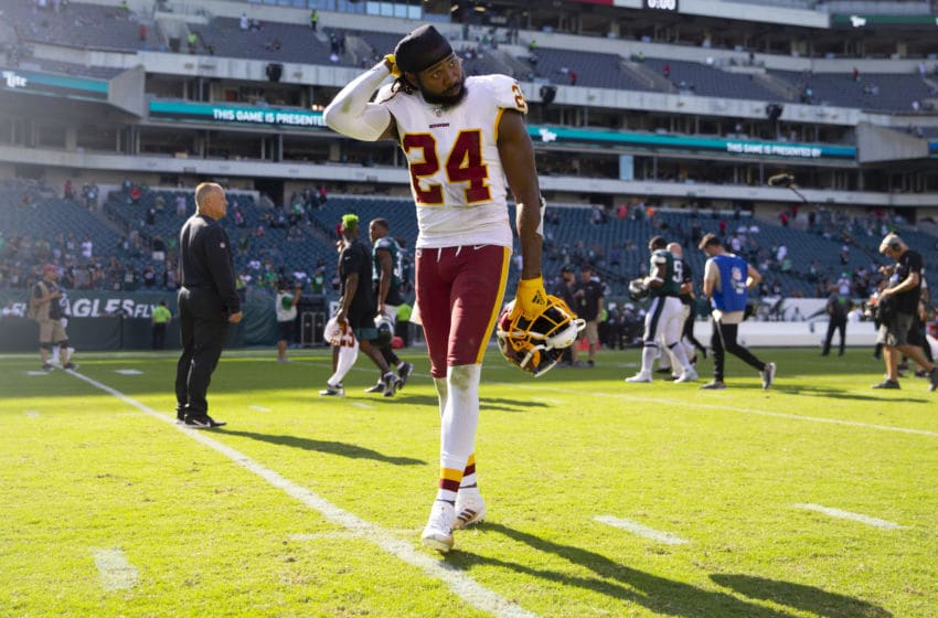PHILADELPHIA, PA - SEPTEMBER 08: Josh Norman #24 of the Washington Redskins walks off the field after the game against the Philadelphia Eagles at Lincoln Financial Field on September 8, 2019 in Philadelphia, Pennsylvania. The Eagles defeated the Redskins 32-27. (Photo by Mitchell Leff/Getty Images)