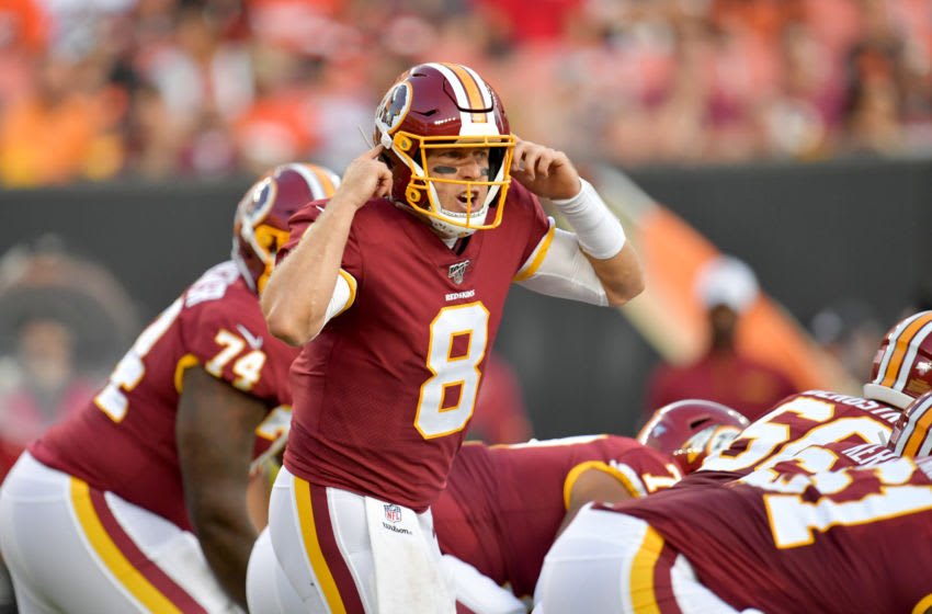 CLEVELAND, OHIO - AUGUST 08: Quarterback Case Keenum #8 of the Washington Redskins calls a play from the line of scrimmage during the first half of a preseason game against the Cleveland Browns at FirstEnergy Stadium on August 08, 2019 in Cleveland, Ohio. (Photo by Jason Miller/Getty Images)