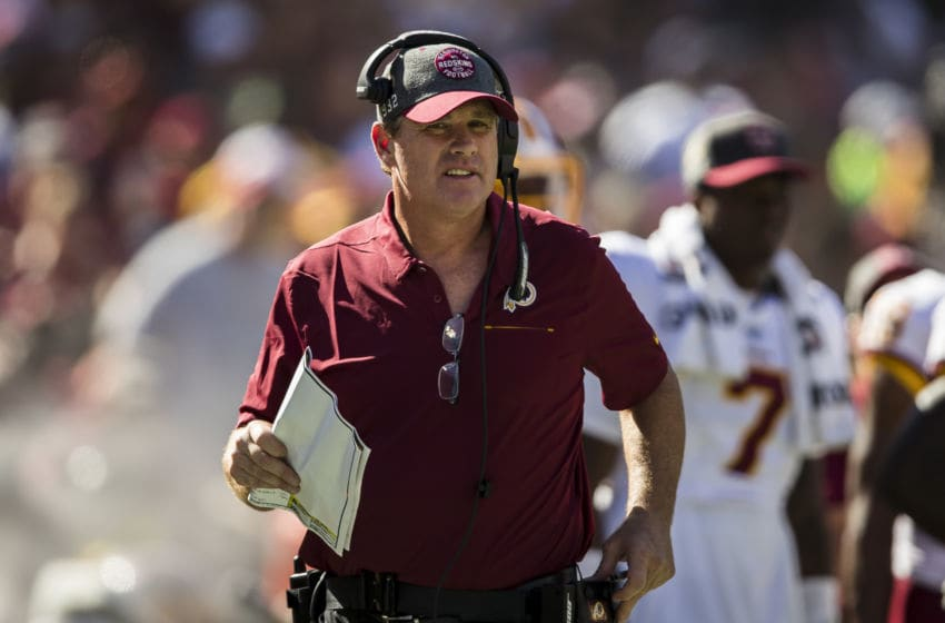 LANDOVER, MD - SEPTEMBER 15: Head coach Jay Gruden of the Washington Redskins looks on against the Dallas Cowboys during the second half at FedExField on September 15, 2019 in Landover, Maryland. (Photo by Scott Taetsch/Getty Images)