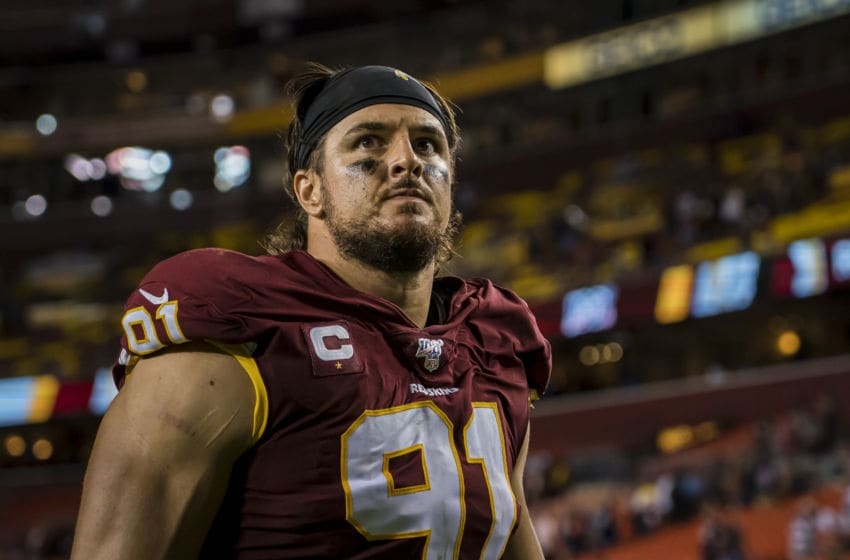 LANDOVER, MD - SEPTEMBER 23: Ryan Kerrigan #91 of the Washington Redskins leaves the field after the game against the Chicago Bears at FedExField on September 23, 2019 in Landover, Maryland. (Photo by Scott Taetsch/Getty Images)