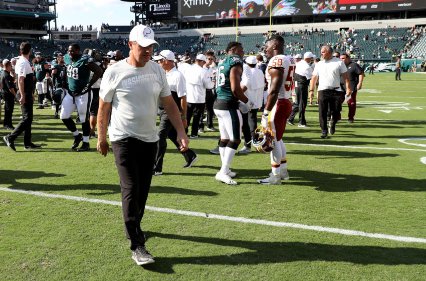 PHILADELPHIA, PENNSYLVANIA - SEPTEMBER 08: Head coach Jay Gruden of the Washington Redskins leaves the field following the Redskins lose to the Philadelphia Eagles at Lincoln Financial Field on September 08, 2019 in Philadelphia, Pennsylvania. (Photo by Rob Carr/Getty Images)