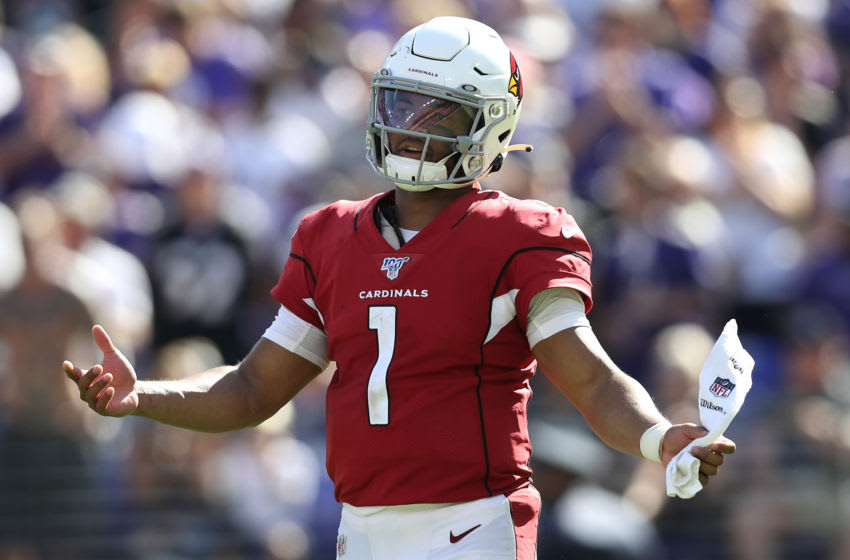 BALTIMORE, MARYLAND - SEPTEMBER 15: Quarterback Kyler Murray #1 of the Arizona Cardinals reacts after a failed series against the Baltimore Ravens during the fourth quarter at M&T Bank Stadium on September 15, 2019 in Baltimore, Maryland. (Photo by Patrick Smith/Getty Images)