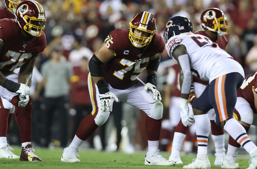 LANDOVER, MARYLAND - SEPTEMBER 23: Brandon Scherff #75 of the Washington Redskins lines up for the play during the first quarter against the Chicago Bears in the game at FedExField on September 23, 2019 in Landover, Maryland. (Photo by Rob Carr/Getty Images)