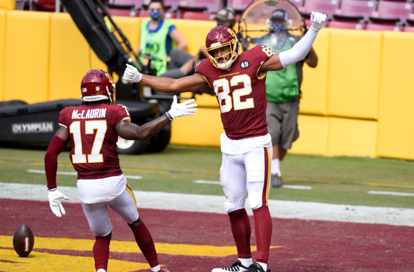 LANDOVER, MD - SEPTEMBER 13: Logan Thomas #82 of the Washington Football Team celebrates after scoring a touchdown in the second quarter against the Philadelphia Eagles at FedExField on September 13, 2020 in Landover, Maryland. (Photo by Greg Fiume/Getty Images)
