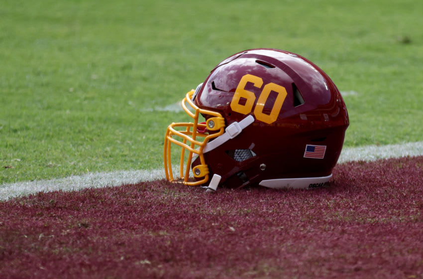 LANDOVER, MARYLAND - SEPTEMBER 13: The helmet of Keith Ismael #60 of the Washington Football Team is shown before their game against the Philadelphia Eagles at FedExField on September 13, 2020 in Landover, Maryland. (Photo by Rob Carr/Getty Images)