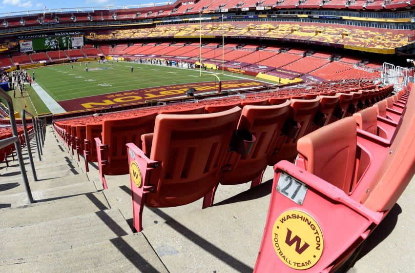 LANDOVER, MD - SEPTEMBER 13: The Washington Football Team play against the Philadelphia Eagles at FedExField on September 13, 2020 in Landover, Maryland. There are no fans at the game due to the ongoing COVID-19 pandemic. (Photo by G Fiume/Getty Images)