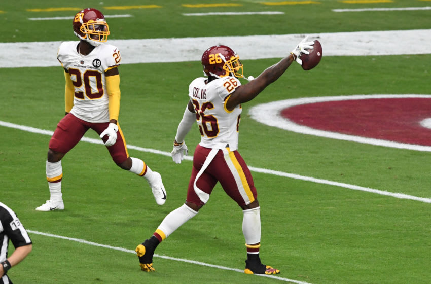 GLENDALE, ARIZONA - SEPTEMBER 20: Landon Collins #26 of the Washington Football Team celebrates after intercepting a pass by Kyler Murray #1 of the Arizona Cardinals during the first quarter at State Farm Stadium on September 20, 2020 in Glendale, Arizona. (Photo by Norm Hall/Getty Images)