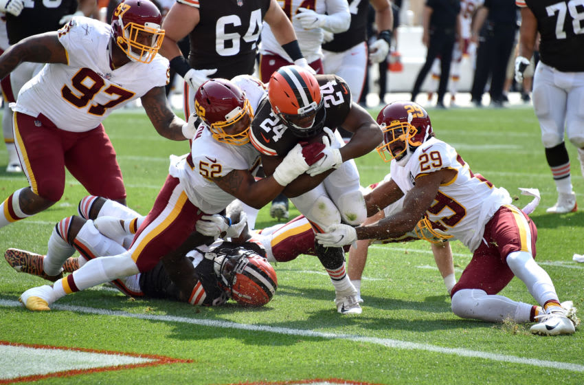 CLEVELAND, OHIO - SEPTEMBER 27: Nick Chubb #24 of the Cleveland Browns scores a 16 yard touchdown against the Washington Football Team during the second quarter in the game at FirstEnergy Stadium on September 27, 2020 in Cleveland, Ohio. (Photo by Jason Miller/Getty Images)