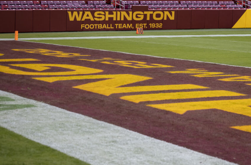 LANDOVER, MD - OCTOBER 25: A general view of the Washington Football Team logo on the stadium before the game between the Washington Football Team and the Dallas Cowboys at FedExField on October 25, 2020 in Landover, Maryland. (Photo by Scott Taetsch/Getty Images)