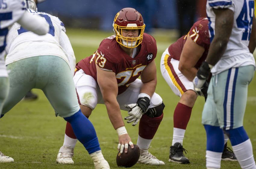 LANDOVER, MD - OCTOBER 25: Chase Roullier #73 of the Washington Football Team lines up against against the Dallas Cowboys during the first half at FedExField on October 25, 2020 in Landover, Maryland. (Photo by Scott Taetsch/Getty Images)