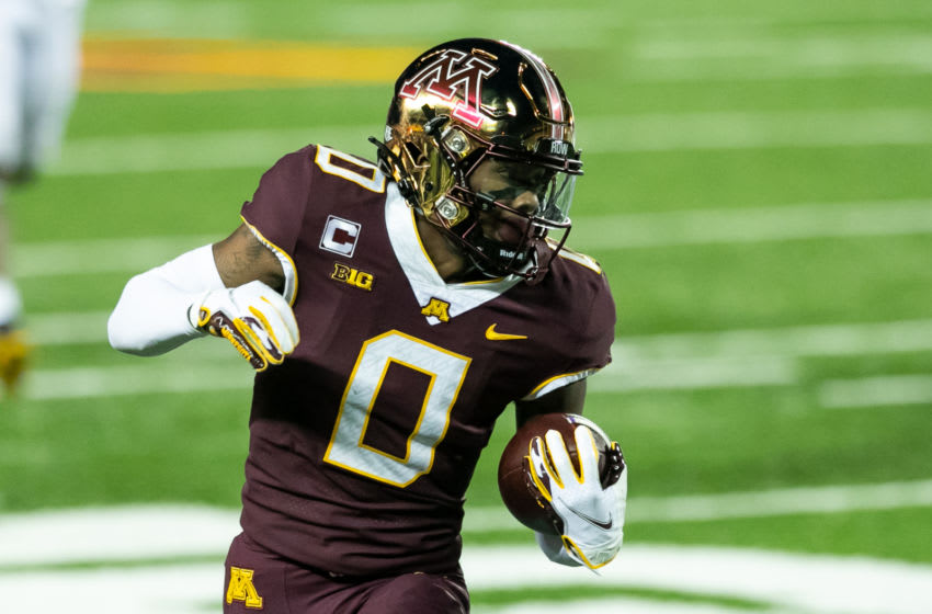 Minnesota WR Rashod Bateman. (Photo by David Berding/Getty Images)