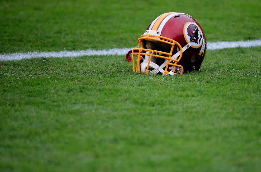 PHILADELPHIA, PA - SEPTEMBER 21: A Washington Redskins helmet is seen on the field before the game against the Philadelphia Eagles at Lincoln Financial Field on September 21, 2014 in Philadelphia, Pennsylvania. (Photo by Rob Carr/Getty Images)
