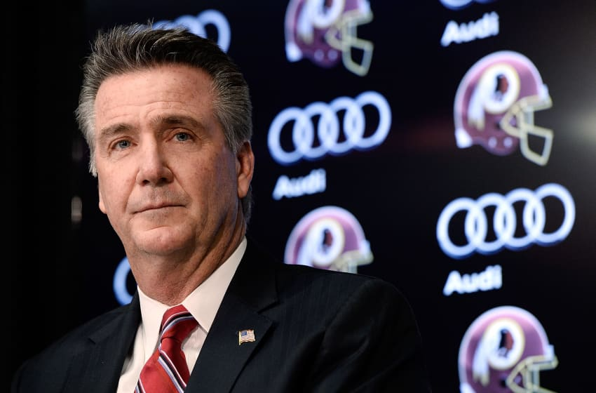 ASHBURN, VA - JANUARY 09: Washington Redskins Executive Vice President and General Manager Bruce Allen speaks as Jay Gruden is introduced as the new head coach of the Washington Redskins at a press conference at Redskins Park on January 9, 2014 in Ashburn, Virginia. (Photo by Patrick McDermott/Getty Images)